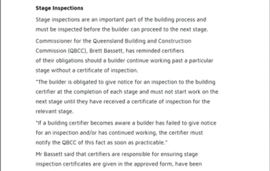 AIBS Winter 2017 Regulator Updates QBCC Stage Inspections