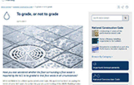 Grading Floor Wastes - Advice by ABCB (Professional Certification Group News Update)