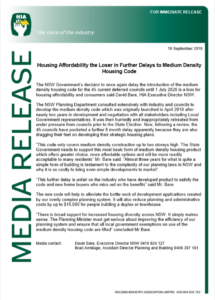 NSW Medium Density Housing Code delayed again, Sep 2019 | HIA