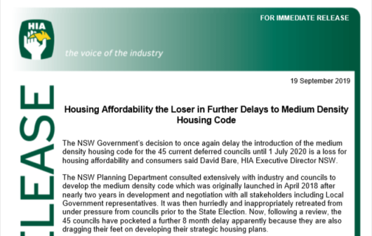 NSW Medium Density Housing Code delayed again, Sep 2019 | HIA Media Release