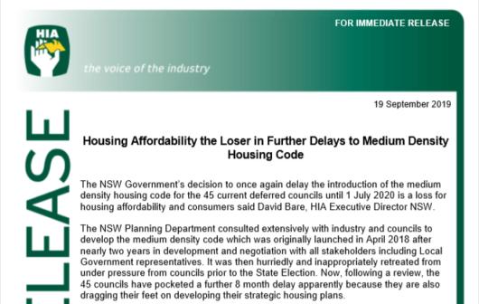 NSW Medium Density Housing Code delayed again, Sep 2019   HIA Media Release